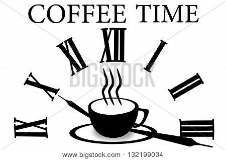 Pictogram coffee cup. Coffee cup icon. Hot steamy coffee cup minimal style.  Isolated coffee cup black illustration on white background. Coffee cup illustration. Coffee cup sign. Coffee time