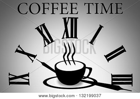 Pictogram coffee cup. Coffee cup icon. Hot steamy coffee cup minimal style.  Isolated coffee cup black illustration on grey background. Coffee cup illustration. Coffee cup sign. Coffee time