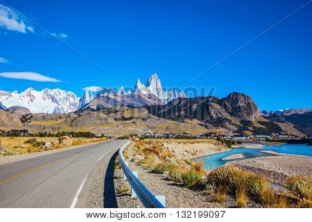 Sunny day in February in Argentine Patagonia. The beautiful  highway to the majestic mountain Fiz Roy