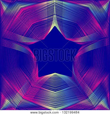 Glowing star with blending colors in dark blue space. Abstract vector background