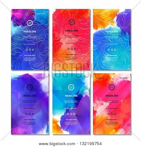 Set of Bright Colorful Cards. Vector Decorative Backgrounds. Vibrant Bg Texture for Business Cards Web Banners Invitation Cards Party Posters and Advertisement Flyers.