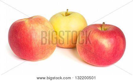 Three apples isolated on white background horizontal