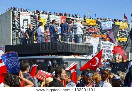 Istanbul Turkey - June 9 2013: Taksim Square A wave of demonstrations and civil unrest in Turkey began on 28 May 2013 initially to contest the urban development plan for Istanbul's Taksim Gez