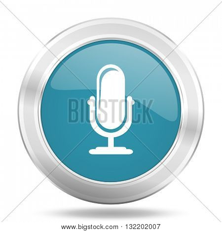 microphone icon, blue round metallic glossy button, web and mobile app design illustration