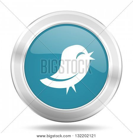twitter icon, blue round metallic glossy button, web and mobile app design illustration