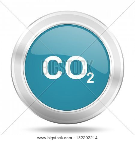 carbon dioxide icon, blue round metallic glossy button, web and mobile app design illustration