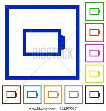 Set of color square framed empty battery flat icons