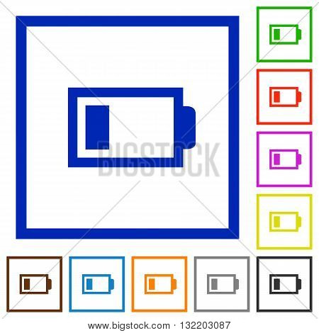 Set of color square framed low battery flat icons