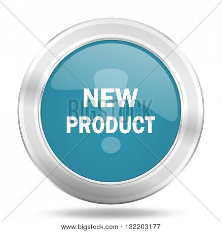 new product icon, blue round metallic glossy button, web and mobile app design illustration