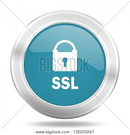 ssl icon, blue round metallic glossy button, web and mobile app design illustration