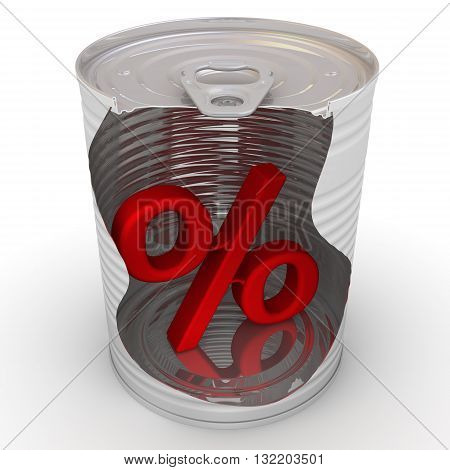 Conserved percentage. Red percent symbol inside a tin can. Financial concept of conservation interest rate. Isolated. 3D Illustration