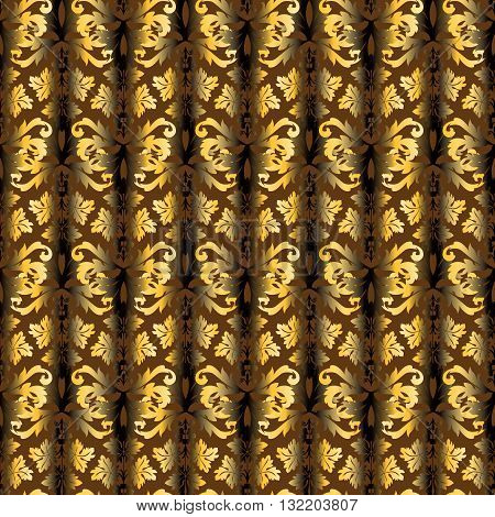 Drapes seamless pattern from gold persian vintage ornament Buta on the brown background. Can be scaled to any size.