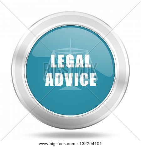 legal advice icon, blue round metallic glossy button, web and mobile app design illustration