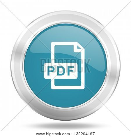 pdf file icon, blue round metallic glossy button, web and mobile app design illustration