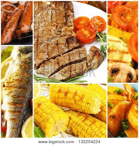 Collage of grilled food, close up