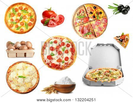 Collage of pizza and ingredients isolated of white