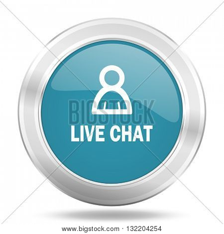 live chat icon, blue round metallic glossy button, web and mobile app design illustration