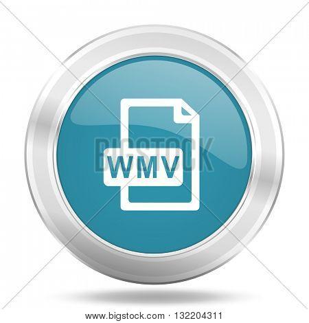 wmv file icon, blue round metallic glossy button, web and mobile app design illustration
