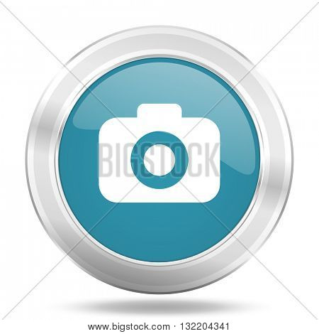photo camera icon, blue round metallic glossy button, web and mobile app design illustration