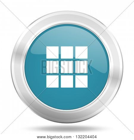 thumbnails grid icon, blue round metallic glossy button, web and mobile app design illustration