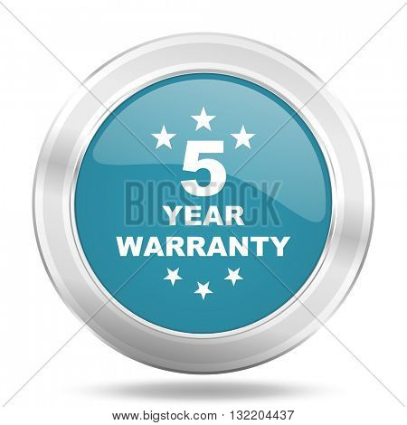 warranty guarantee 5 year icon, blue round metallic glossy button, web and mobile app design illustration