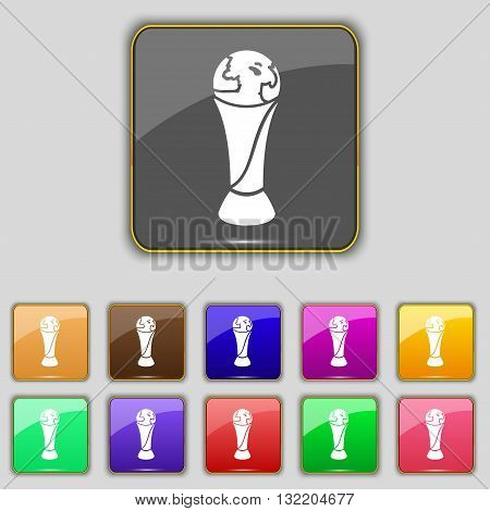 World Cup Icon Sign. Set With Eleven Colored Buttons For Your Site. Vector