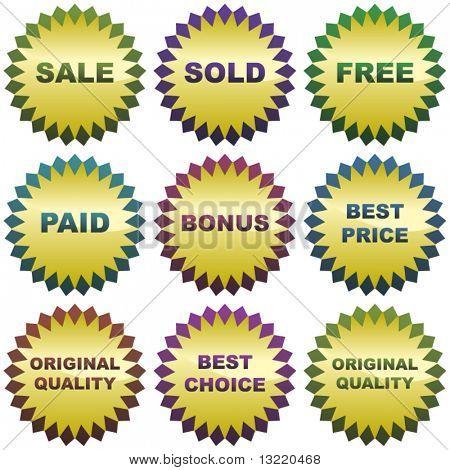 Set of colorful sale labels.