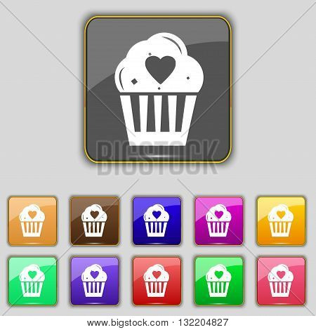 Cute Lovely Cupcake With Heart Icon Sign. Set With Eleven Colored Buttons For Your Site. Vector
