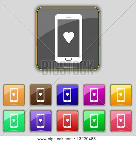 Love Letter, Valentine Day, Billet-doux, Romantic Pen Pals Icon Sign. Set With Eleven Colored Button