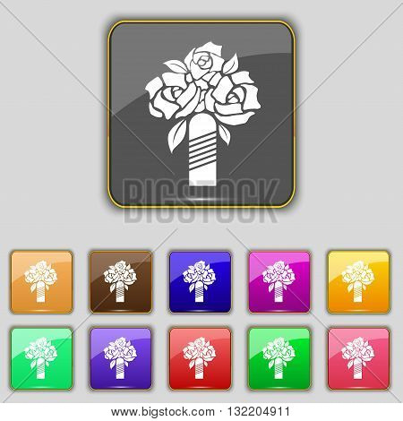 Wedding Bouquet Icon Sign. Set With Eleven Colored Buttons For Your Site. Vector