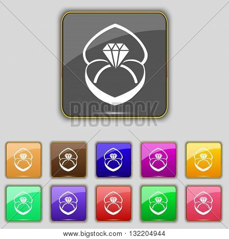 Diamond Ring Icon Sign. Set With Eleven Colored Buttons For Your Site. Vector