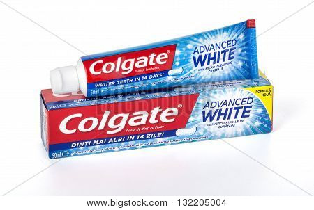 CHISINAU MOLDOVA -March 13 2016;: Colgate tooth paste on white.Colgate is a brand of toothpaste produced by Colgate-Palmolive