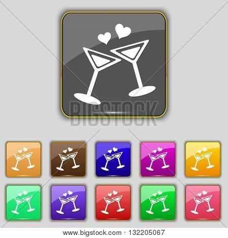 Cocktail In Glass With Hearts Icon Sign. Set With Eleven Colored Buttons For Your Site. Vector