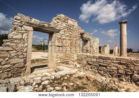 Paphos Cyprus - April 20 2015: The Sanctuary of Apollo Hylates Cyprus. The sanctuary is located about 25 kilometres west of the ancient town of Kourion along the road which leads to Pafos.