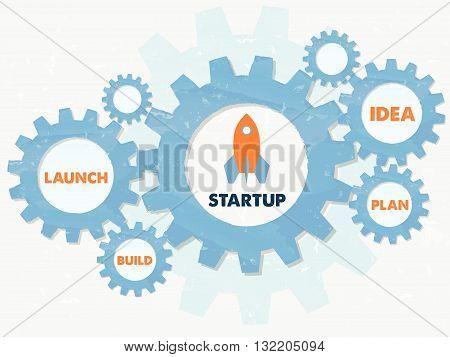 start up, launch, build, idea, plan - business development concept words - orange text in blue grunge flat design gear wheels, vector