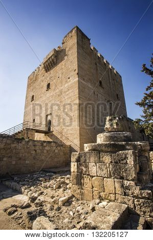 Paphos Cyprus - March 20 2015: The medieval castle of Kolossi. It is situated in the south of Cyprus in Limassol.