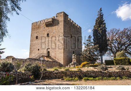 Paphos Cyprus - March 202015: Kolossi Castlestrategic important fort of Medieval Cyprusfine example of military architectureoriginally built in 1210