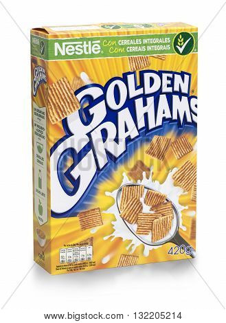 MALLORCA SPAIN Mai 06 2016.: Box of Golden Grahams wheat cereal on white background Golden Grahamswheat is made by Nestle