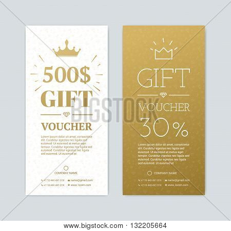 Gift voucher for shopping in the store. Gold card for a gift for the holidays. Exclusive certificate for a gift.