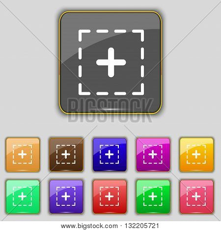 Plus In Square Icon Sign. Set With Eleven Colored Buttons For Your Site. Vector