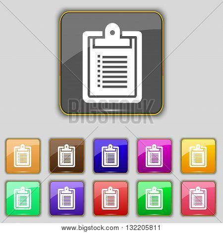Notebook Icon Sign. Set With Eleven Colored Buttons For Your Site. Vector