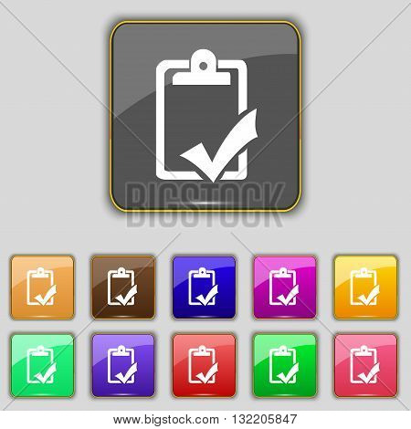 Document Grammar Control, Test, Work Complete Icon Sign. Set With Eleven Colored Buttons For Your Si