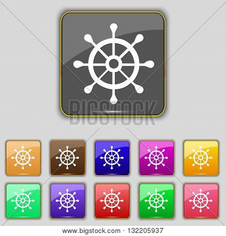 Ship Helm Icon Sign. Set With Eleven Colored Buttons For Your Site. Vector