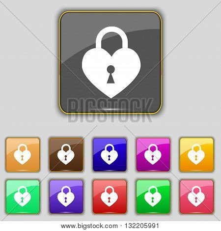 Lock In The Shape Of Heart Icon Sign. Set With Eleven Colored Buttons For Your Site. Vector
