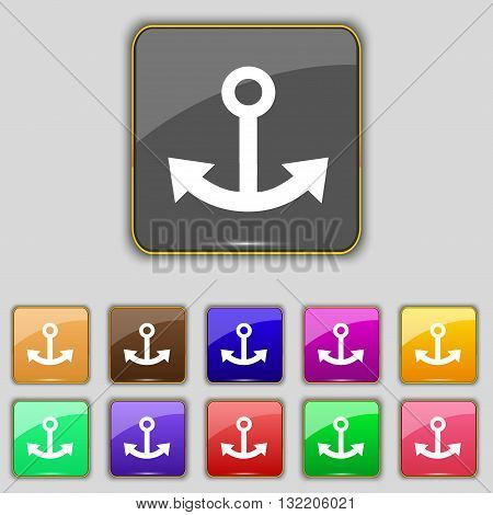 Anchor Icon Sign. Set With Eleven Colored Buttons For Your Site. Vector