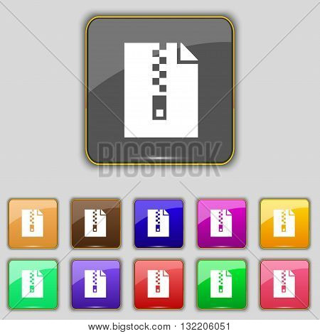 Computer Zip Folder, Archive Icon Sign. Set With Eleven Colored Buttons For Your Site. Vector