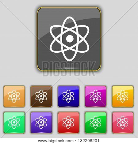 Atom, Physics Icon Sign. Set With Eleven Colored Buttons For Your Site. Vector