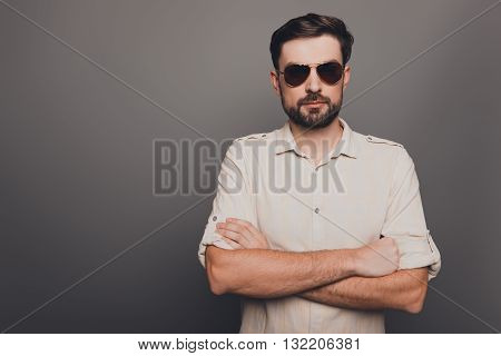 Brutal Strict Handsome Man In Glasses With Crossed Hands