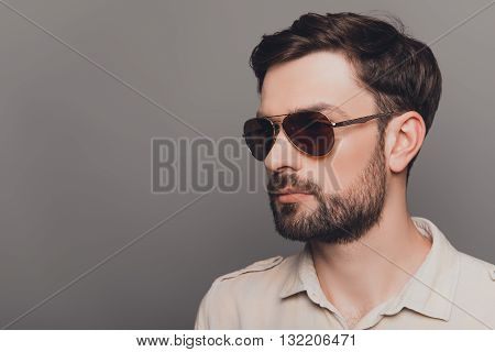Portrait Of Brutal Young Bearded Sexy Man In Spectacles