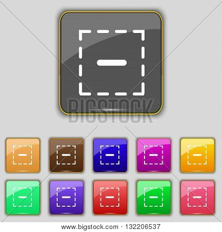 The Minus In A Square Icon Sign. Set With Eleven Colored Buttons For Your Site. Vector